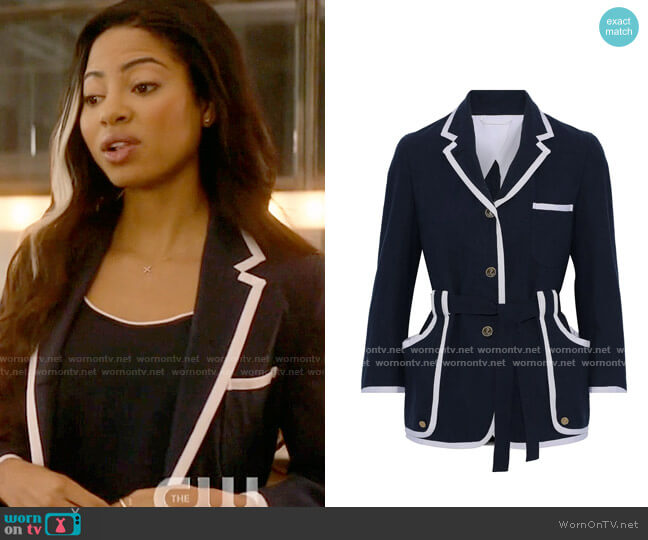 Thom Brown Belted grosgrain-trimmed cotton-crepe jacket worn by Alexandra Cabot (Camille Hyde) on Katy Keene