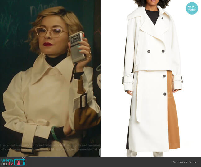 Colorblock Techy Twill Convertible Trench Coat by Tibi worn by Pepper Smith (Julia Chan) on Katy Keene