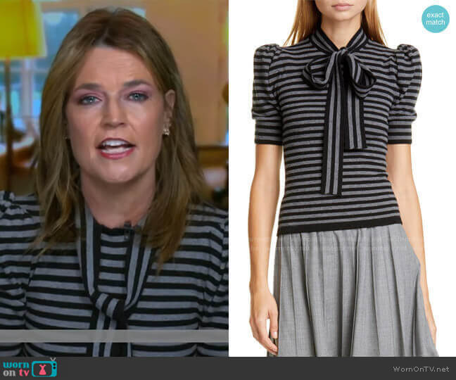 Tie Neck Stripe Cashmere Sweater by Michael Kors worn by Savannah Guthrie  on Today