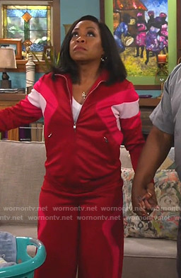 Tina's red colorblock track jacket and pants on The Neighborhood