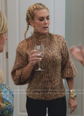 Tinsley's leopard sweater and earrings on The Real Housewives of New York City