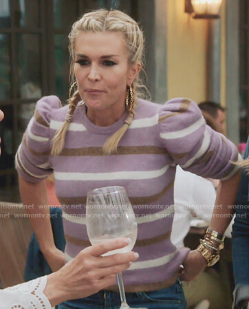 Tinsley's purple stripe puff sleeve sweater on The Real Housewives of New York City
