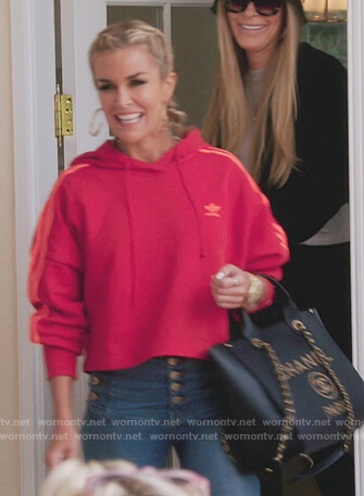 Tinsley's red cropped adidas hoodie on The Real Housewives of New York City
