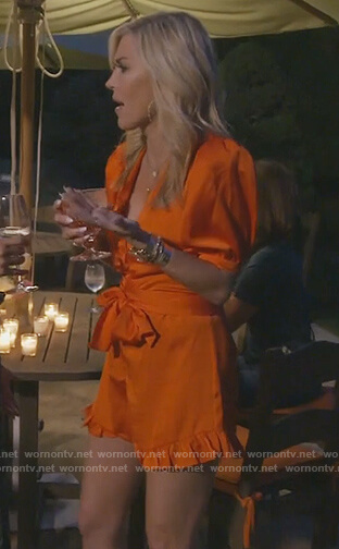 Tinsley's red satin tie romper on The Real Housewives of New York City