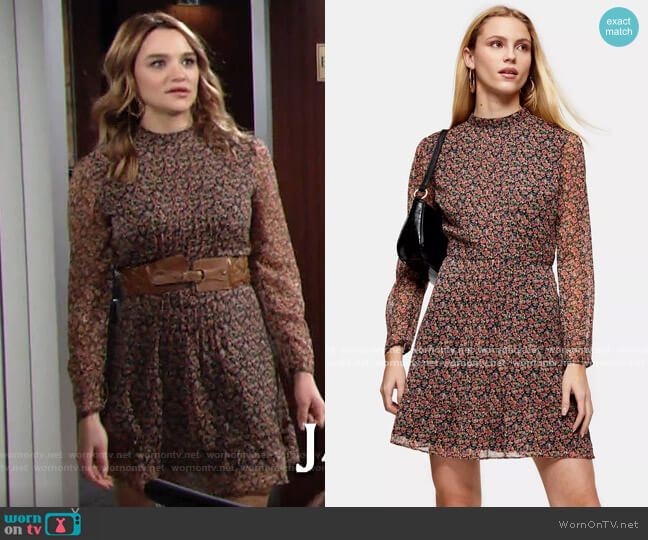 Topshop Floral Pintuck Mini Tea Dress worn by Summer Newman (Hunter King) on The Young & the Restless