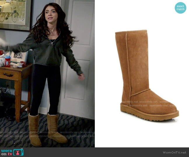 Ugg Classic Tall II Shearling-Lined Suede Boots in Chestnut worn by Haley Dunphy (Sarah Hyland) on Modern Family