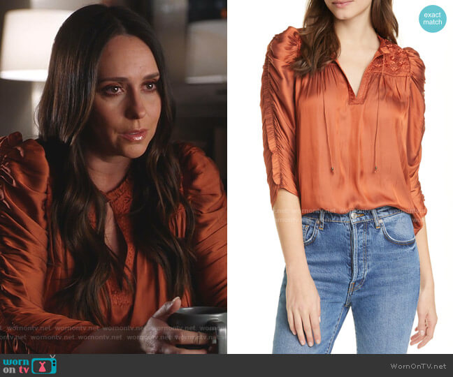 Lissa Ruched Blouse by Ulla Johnson worn by Maddie Kendall (Jennifer Love Hewitt) on 9-1-1