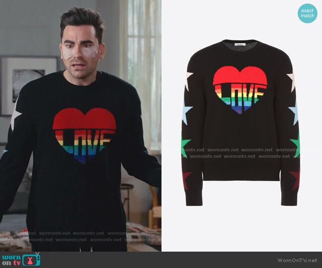 Love Intarsia Sweater by Valentino worn by David Rose (Daniel Levy) on Schitts Creek