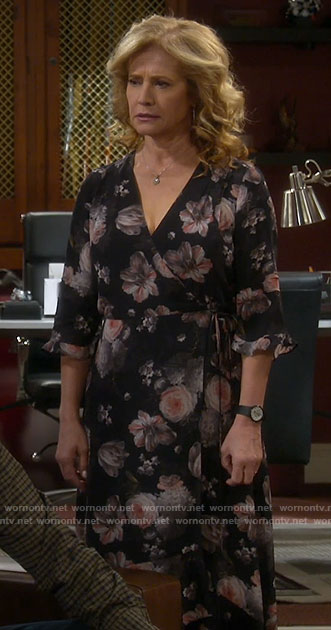 Vanessa's black floral wrap midi dress on Last Man Standing