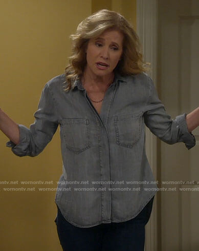Vanessa's grey button down shirt on Last Man Standing