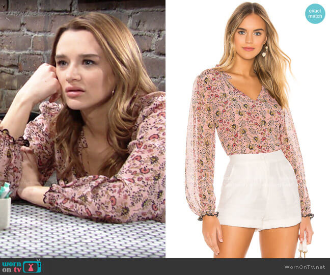 Velvet by Graham & Spencer Mel Blouse in Pink worn by Summer Newman (Hunter King) on The Young & the Restless
