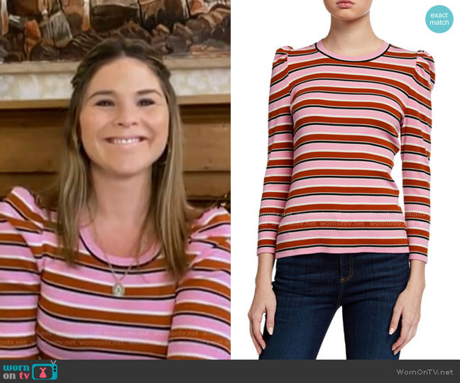 Britney Striped Puff-Sleeve Top by Veronica Beard worn by Jenna Bush Hager  on Today