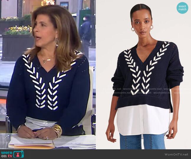 Edwin Mixed-Media Sweater by Veronica Beard worn by Hoda Kotb  on Today