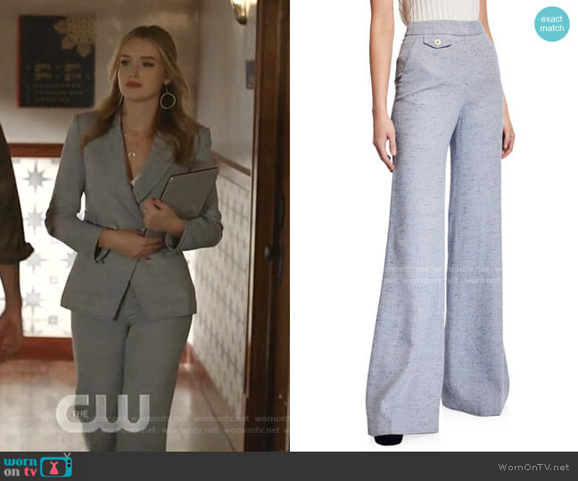 Antonio High-Rise Wide-Leg Pants by Veronica Beard worn by Kirby Anders (Maddison Brown) on Dynasty