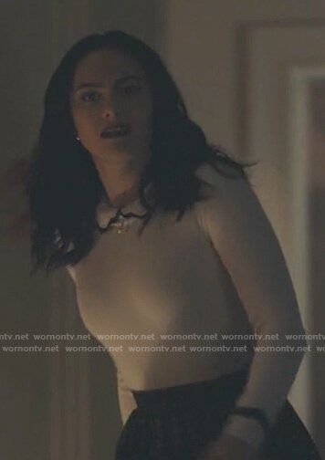 Veronica's white contrast detail sweater on Riverdale