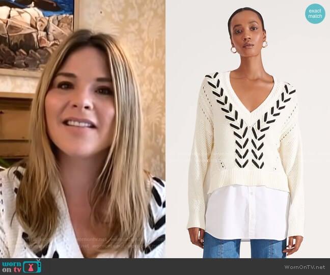 Edwin Mixed-Media Sweater by Veronica Beard worn by Jenna Bush Hager  on Today