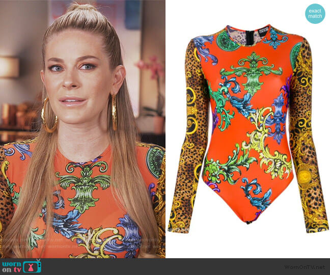 Baroque-print body by Versace worn by Leah McSweeney  on The Real Housewives of New York City
