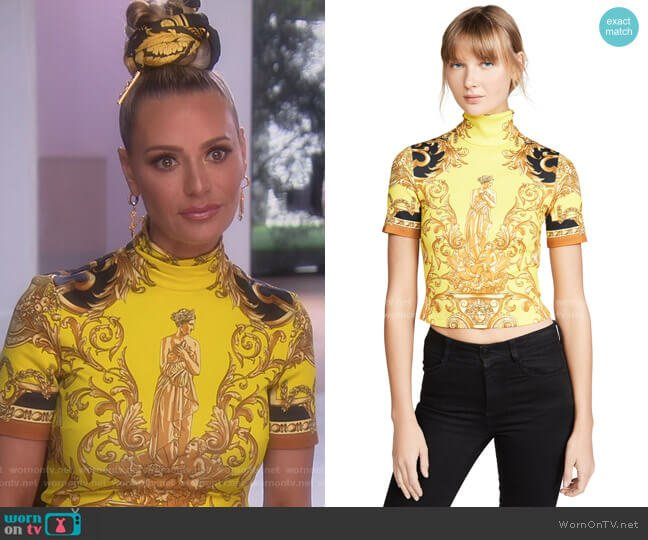 Turtleneck Crop Tee by Versace worn by Dorit Kemsley  on The Real Housewives of Beverly Hills