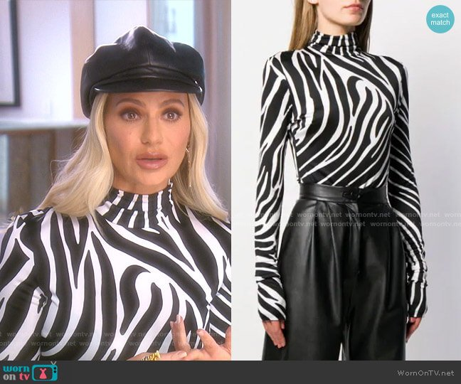 Zebra-print Jersey Bodysuit by Versace  worn by Dorit Kemsley  on The Real Housewives of Beverly Hills