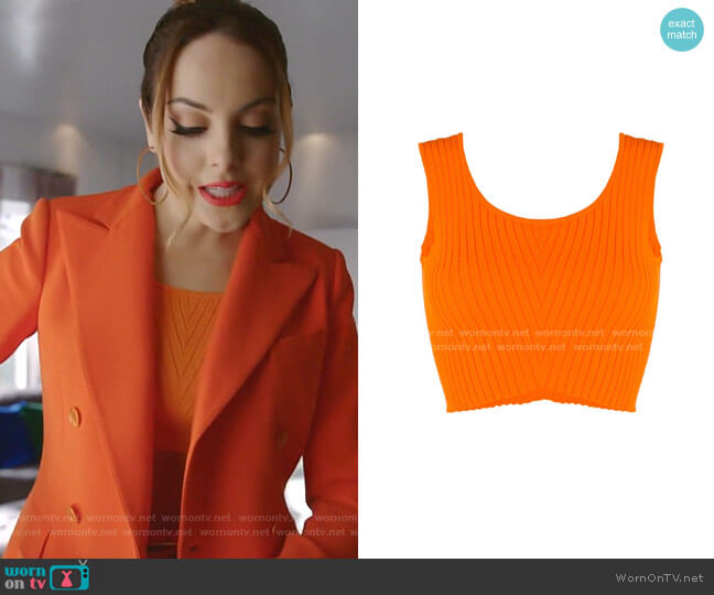 Knitted Sleeveless Crop Top by Versace worn by Fallon Carrington (Elizabeth Gillies) on Dynasty