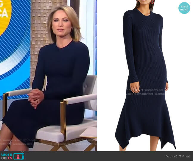 Asymmetric Ribbed Wool Midi Dress by Victoria Beckham worn by Amy Robach  on Good Morning America