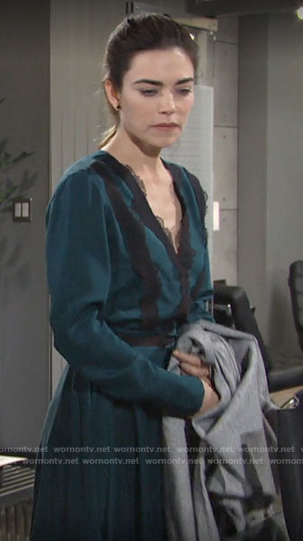 Victoria's teal midi dress with contrasting lace on The Young and the Restless