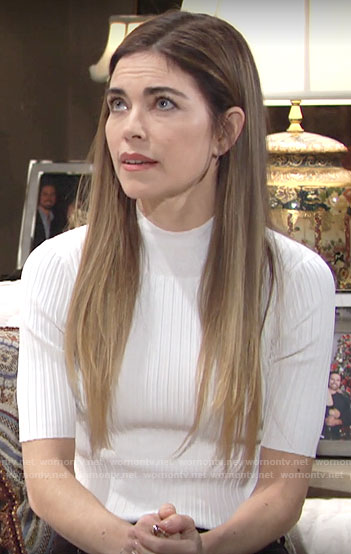 Victoria's white short sleeve sweater on The Young and the Restless