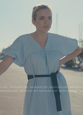 Villanelle's blue belted poplin dress on Killing Eve