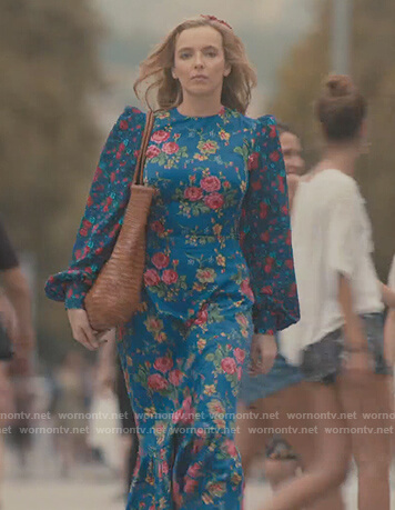 Villanelle's blue floral maxi dress on Killing Eve