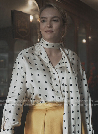 Villanelle's white polka dot tie neck blouse on Killing Eve