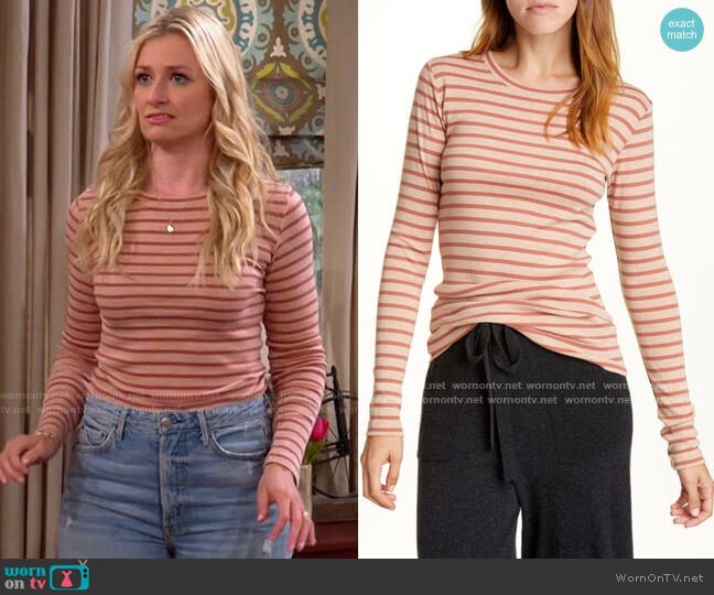 Vince Feeder Stripe Long Sleeve Pima Cotton Blend Top worn by Gemma (Beth Behrs) on The Neighborhood