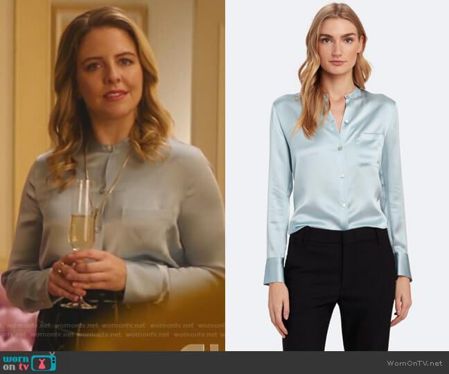Slim Fit Band Collar Silk Blouse by Vince worn by Amanda (Helene Yorke) on Katy Keene