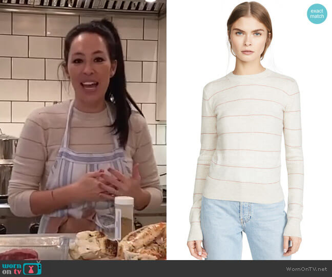 Striped Fitted Cashmere Sweater by Vince worn by Joanna Gaines on Today Shows
