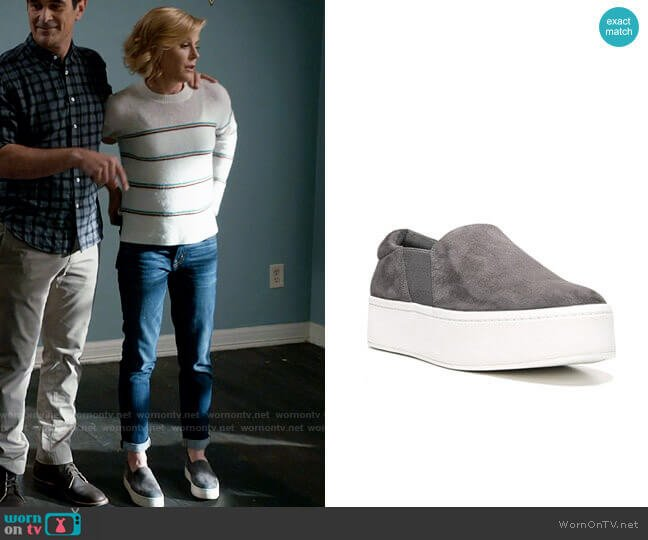 Vince Warren Slip-On Platform Suede Sneakers worn by Claire Dunphy (Julie Bowen) on Modern Family