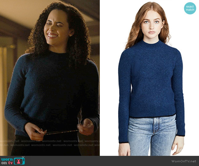 Vince Contrast Tip Pullover worn by Macy Vaughn (Madeleine Mantock) on Charmed