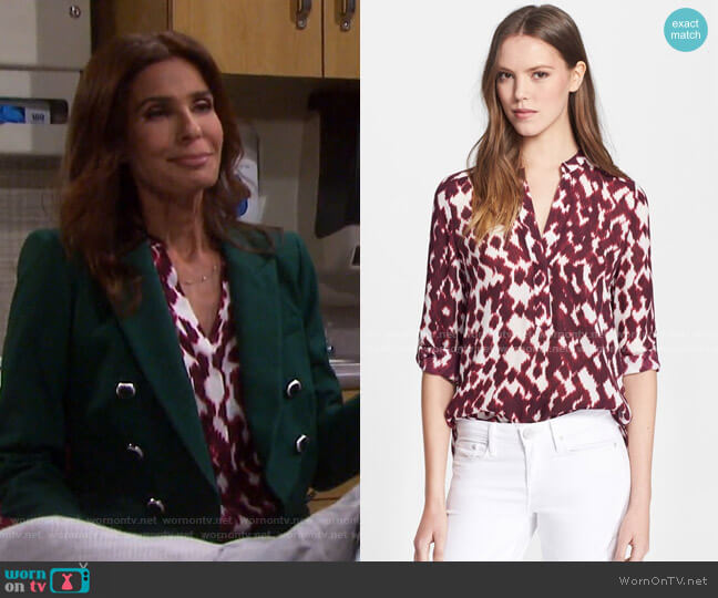 Ikat Print Blouse by Vince worn by Hope Williams (Kristian Alfonso) on Days of our Lives