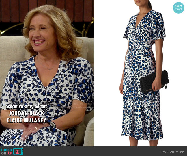 Whistles Brushed Leopard Button Midi Dress worn by Vanessa Baxter (Nancy Travis) on Last Man Standing