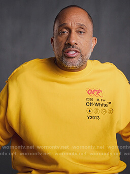Kenya's yellow Off-White sweatshirt on BlackAF