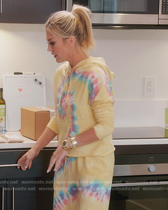 Tinsley's yellow tie dye sweatshirt and pants on The Real Housewives of New York City