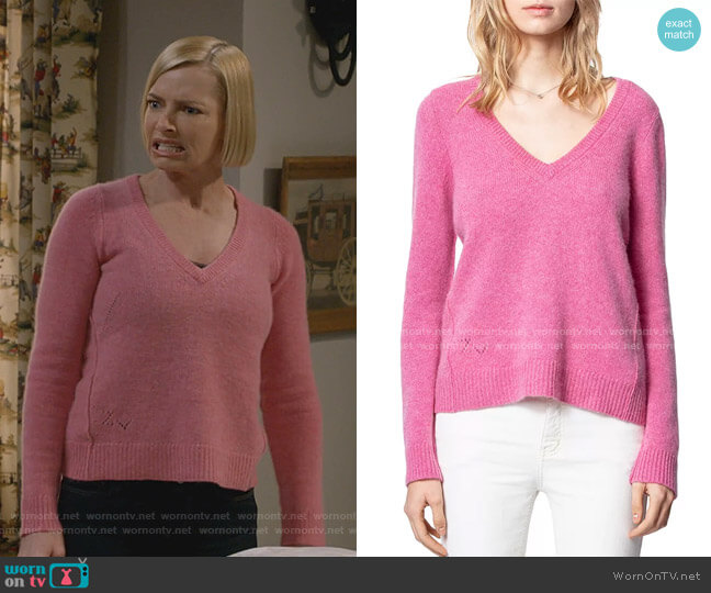 Sourca Cashmere Sweater by Zadig & Voltaire worn by Jill Kendall (Jaime Pressly) on Mom