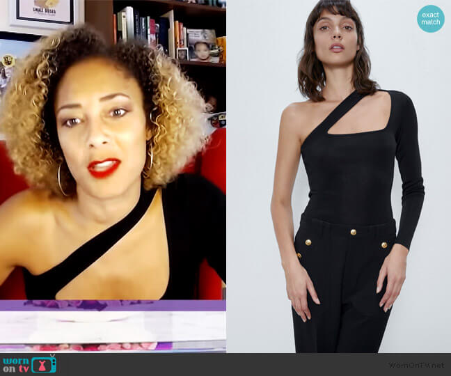 Asymmetric Knit Bodysuit by Zara worn by Amanda Seales  on The Real