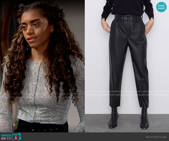 Zara Belted Faux Leather Pants worn by Zoe (Kiara Barnes) on The Bold & the Beautiful