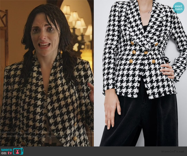 Houndstooth Jacket by Zara worn by Georgina Reilly on The Baker and the Beauty