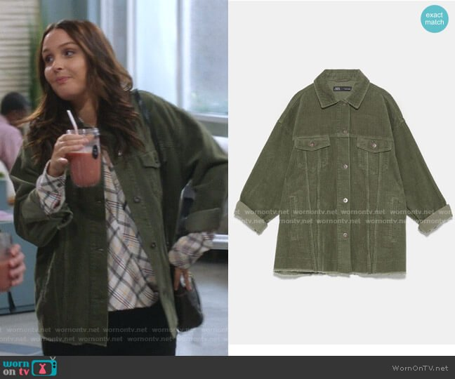 Oversized Corduroy Overshirt by Zara worn by Jo Wilson (Camilla Luddington) on Greys Anatomy