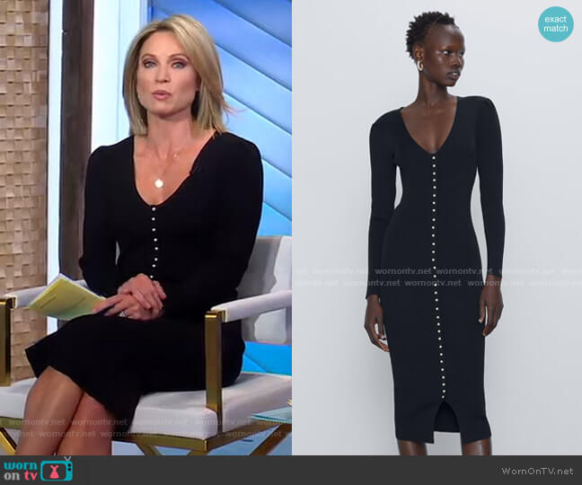 Pearl Button Dress by Zara worn by Amy Robach  on Good Morning America