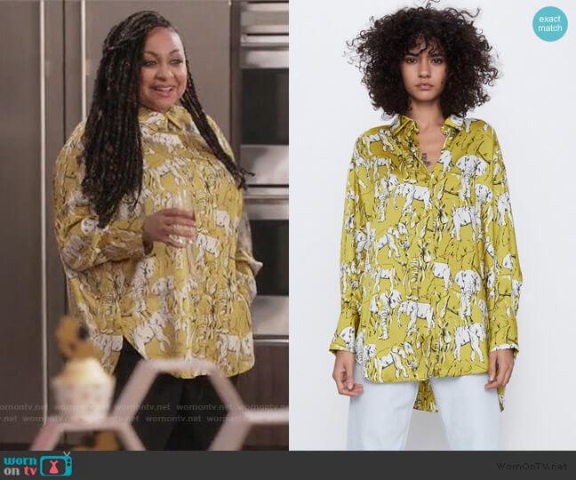 Printed Oversized Shirt by Zara worn by Raven-Symoné on Black-ish