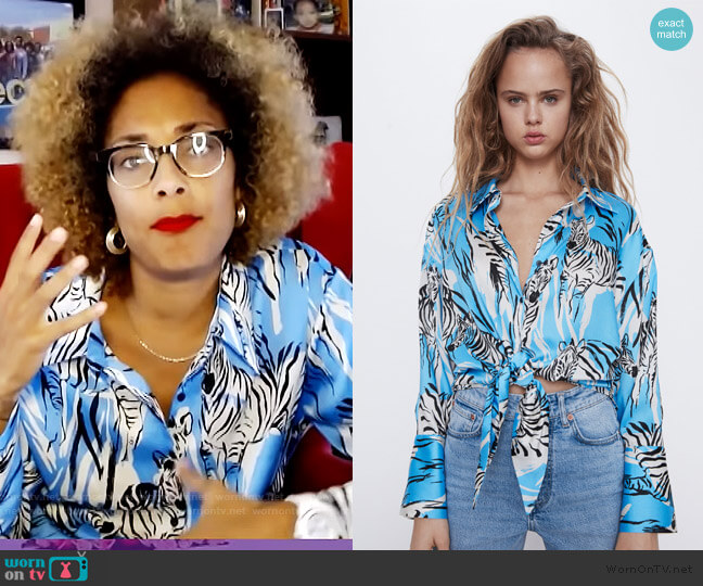 Tied Print Shirt by Zara worn by Amanda Seales  on The Real