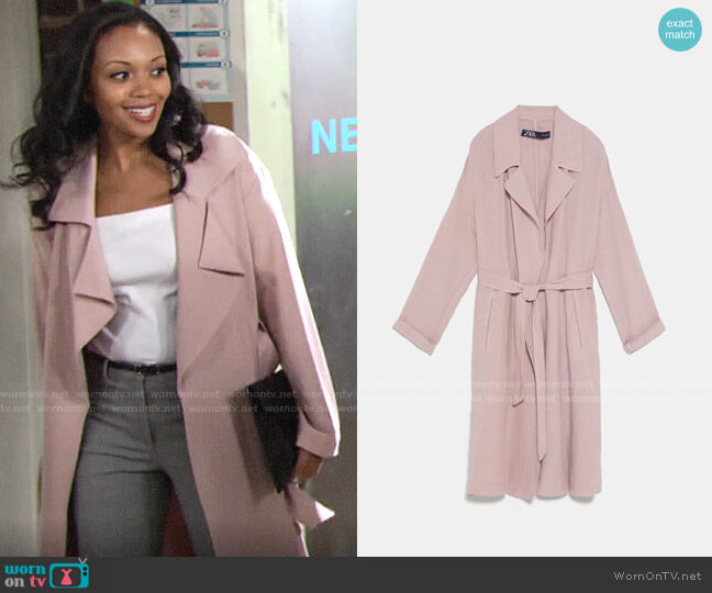 Zara Belted Linen Trench Coat worn by Amanda Sinclair (Mishael Morgan) on The Young & the Restless