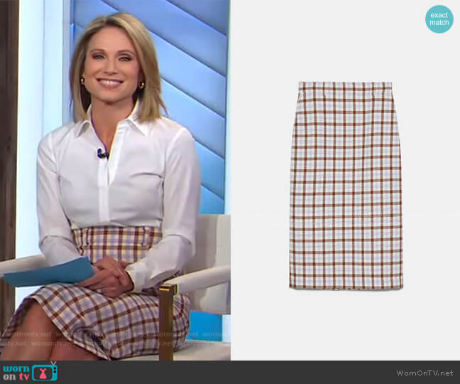 Check Pencil Skirt by Zara worn by Amy Robach  on Good Morning America