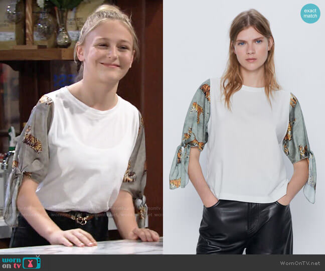 Zara Combination Sleeve Top worn by Faith Newman (Alyvia Alyn Lind) on The Young & the Restless